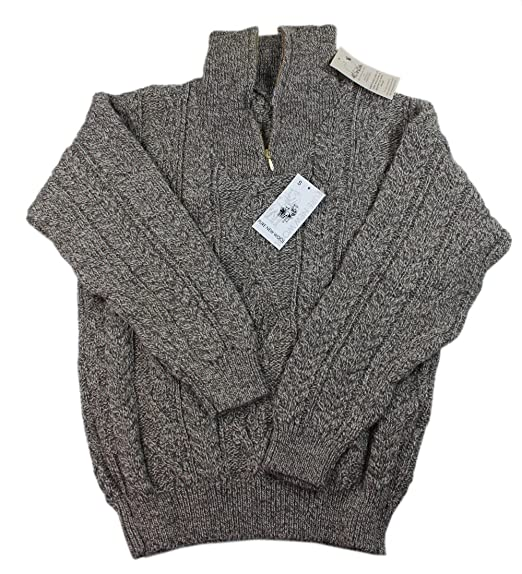 f8f5992e26d27 Kerry Woollen Mills Men s Wool Sweater Zipper 100% Organic Wool Irish Made  Cream