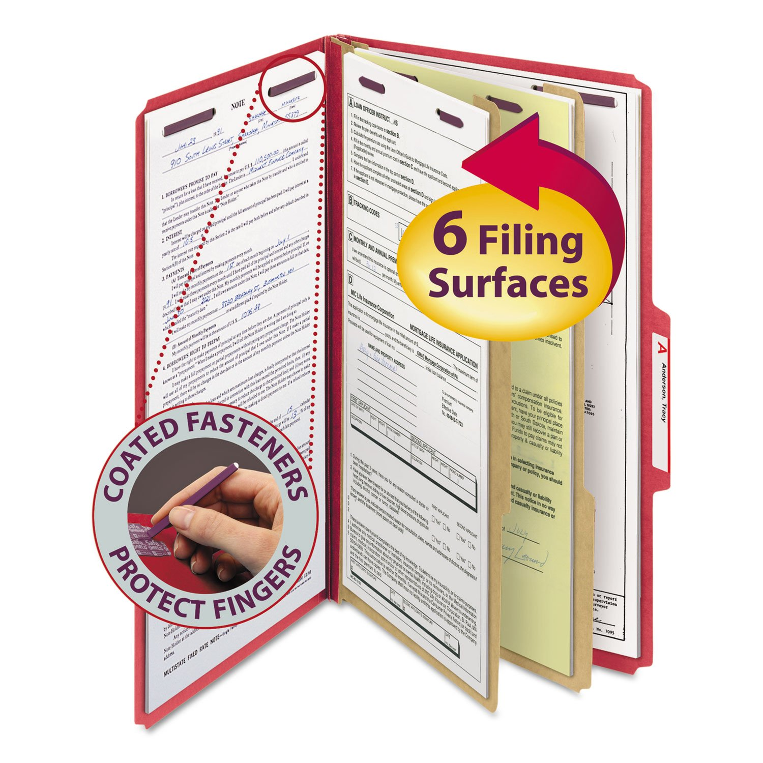 SMD19031 - Smead 19031 Bright Red Colored Pressboard Classification Folders with SafeSHIELD Fasteners by Smead