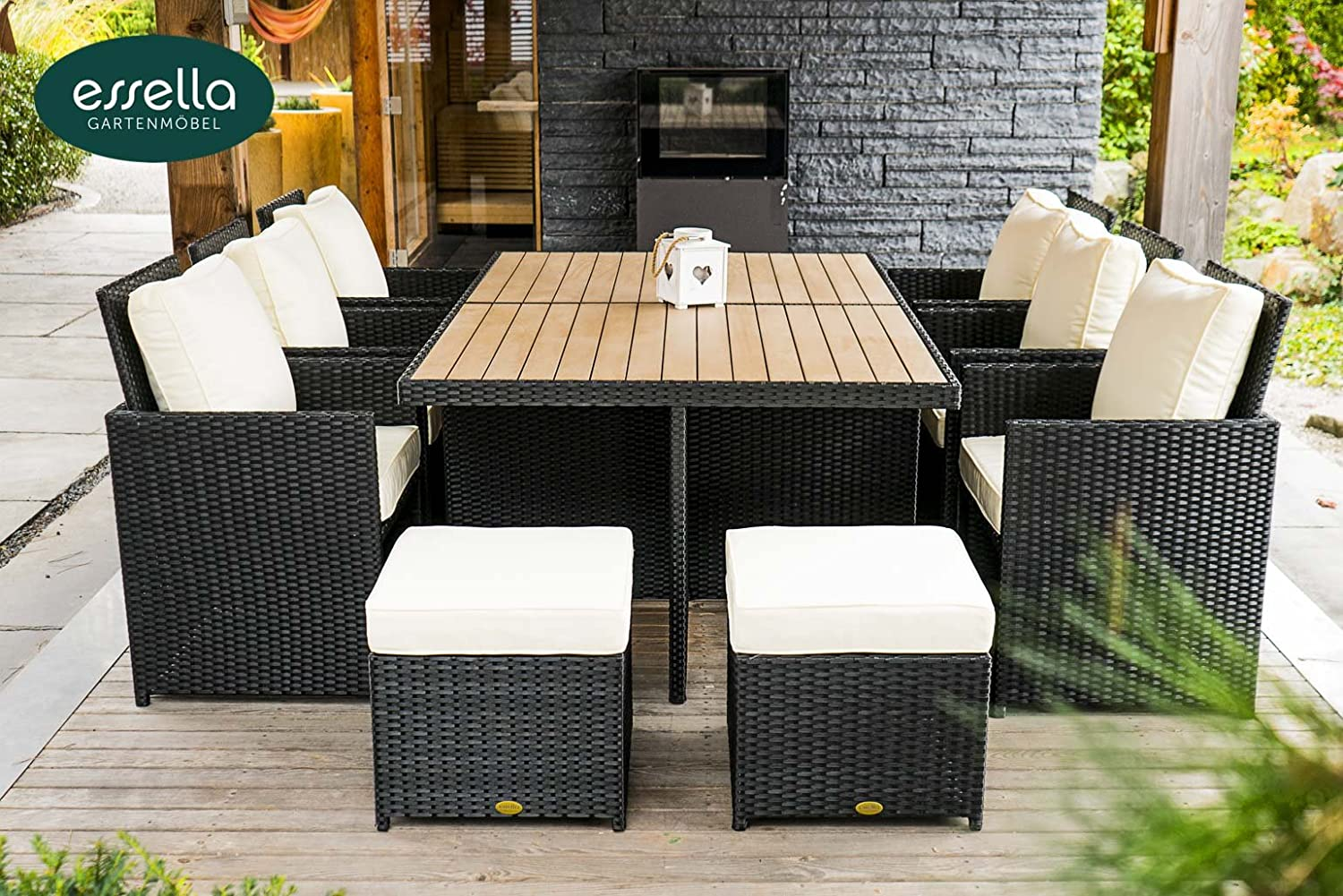 polyrattan sitzgruppe vienna 6 personen polywood flachgeflecht schwarz gartenm bel. Black Bedroom Furniture Sets. Home Design Ideas