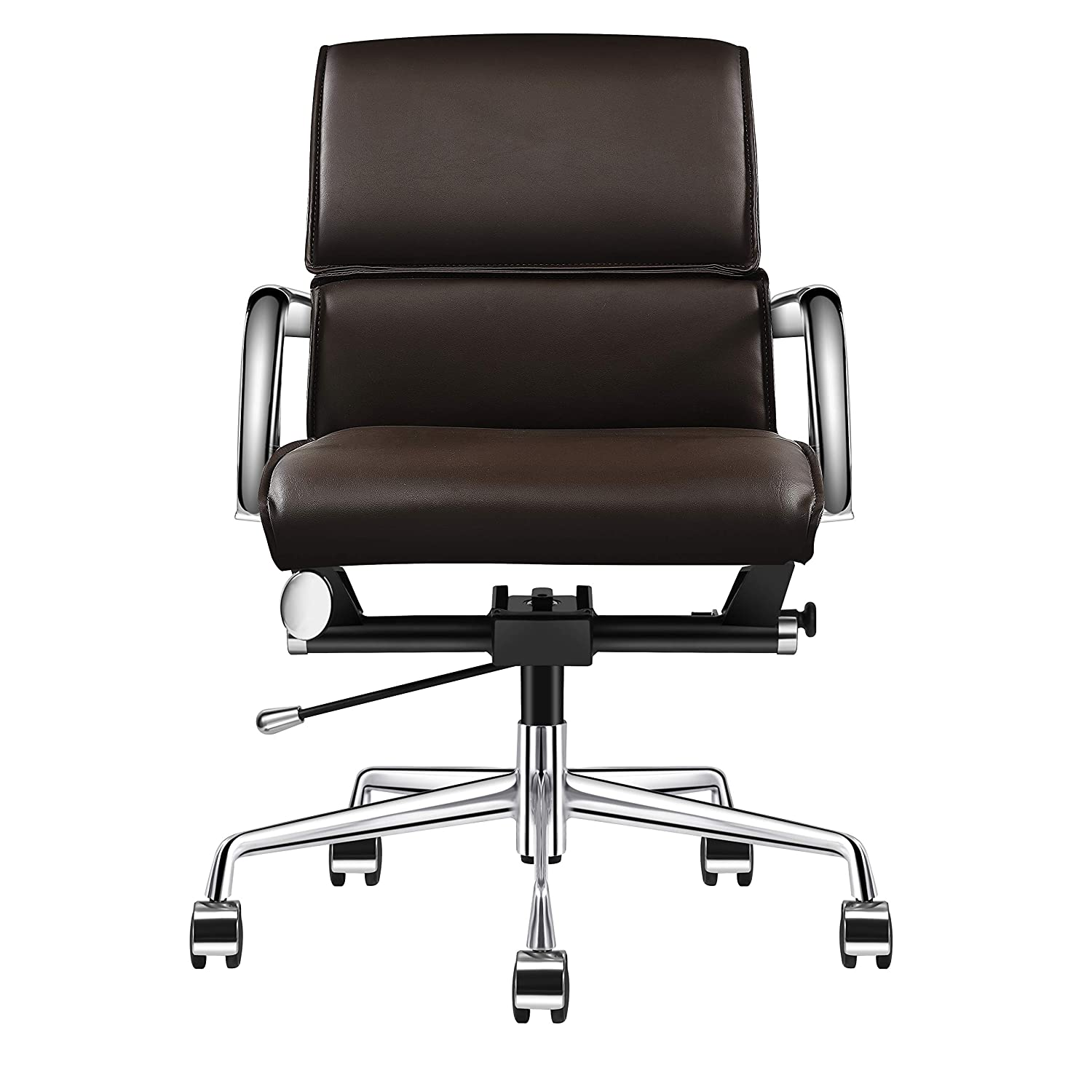 Ergonomic Office Chair, Desk Chair with Arms, Mid Back Office Chair Brown, Mid Back Desk Chair, Executive Chair with Back Support, Brown Receptionist Chairs, Brown Office Chair