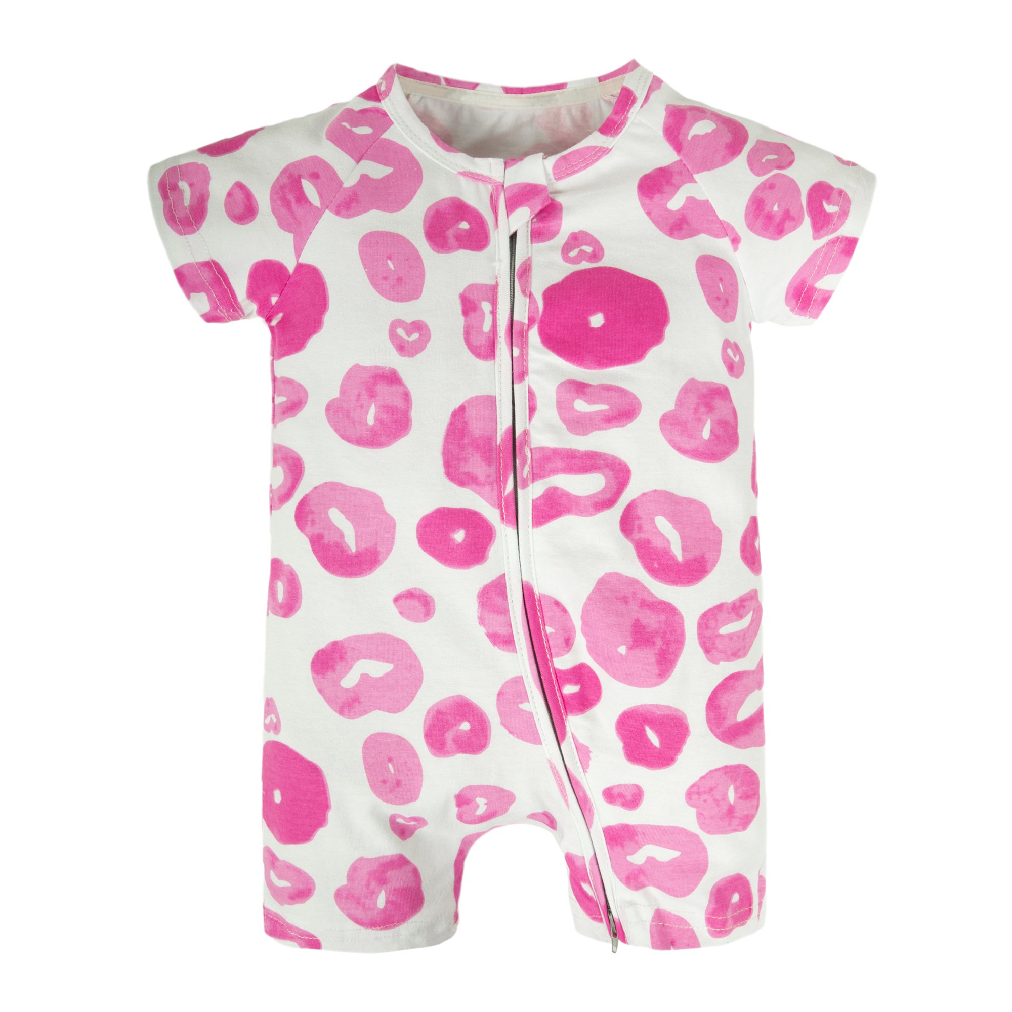 BIG ELEPHANT Baby Girls'1 Piece Summer Short Sleeve Pajama Graphic Zipper Romper Style D T98-73 6-9 Months