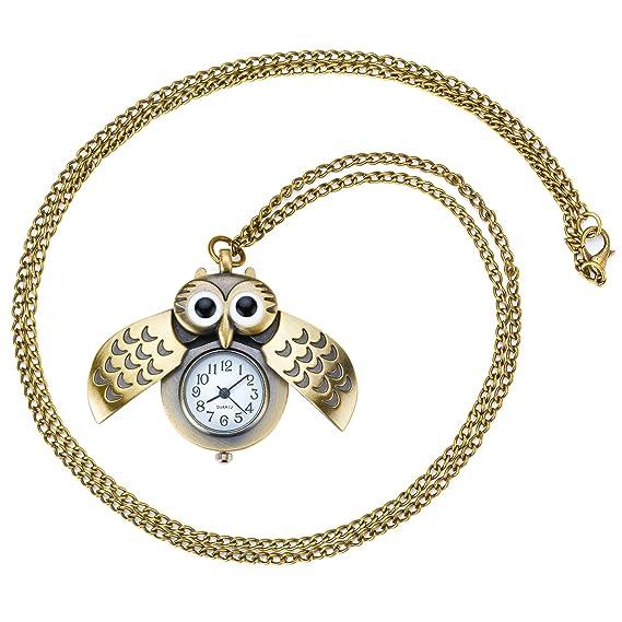 Nuestra Sección tyle Mujer Niños Collar con reloj Búhos colgante retro vintage reloj analógico para mujer reloj antiguo oro: Amazon.es: Relojes