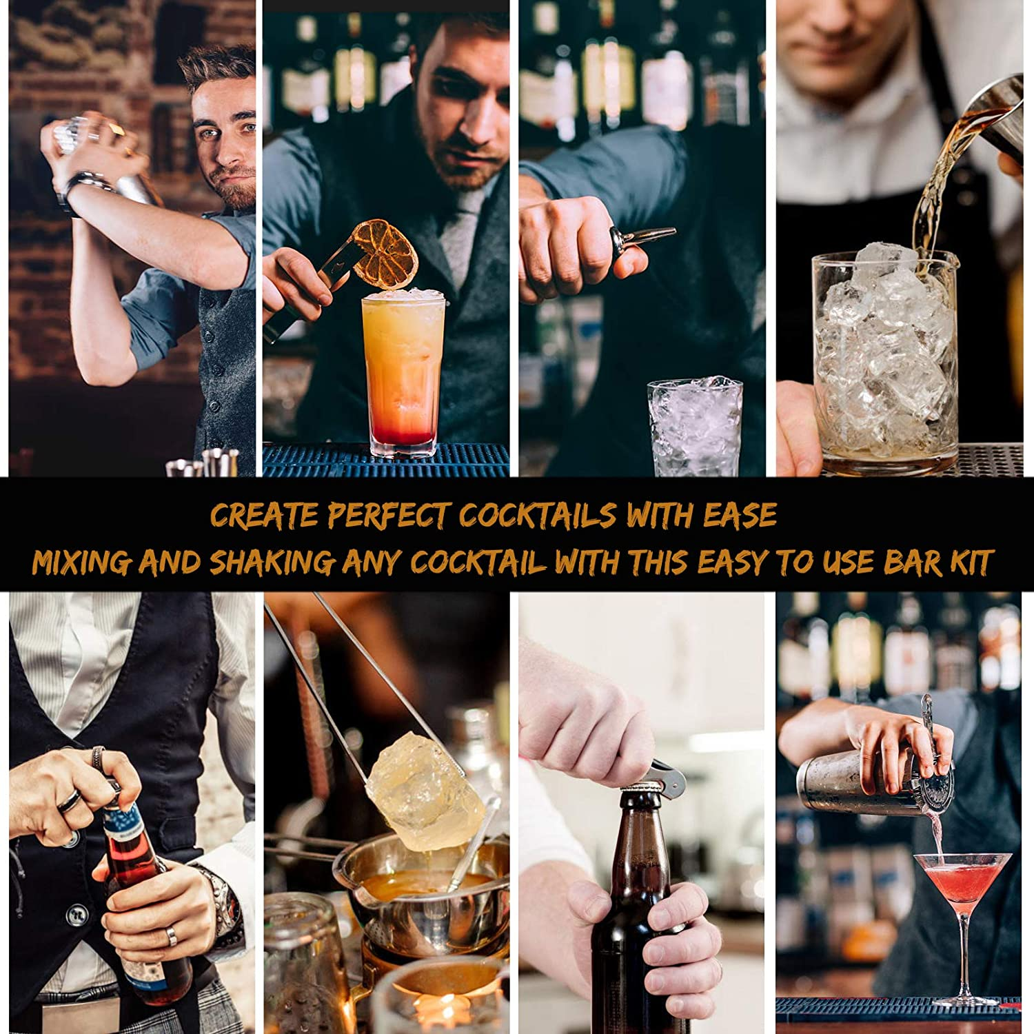 Perfect Home Bartending Kit with Stylish Stand 25oz Stainless Steel Martini Shaker with Cocktail Recipes Booklet BestGK Bartender Kit Cocktail Shaker Set