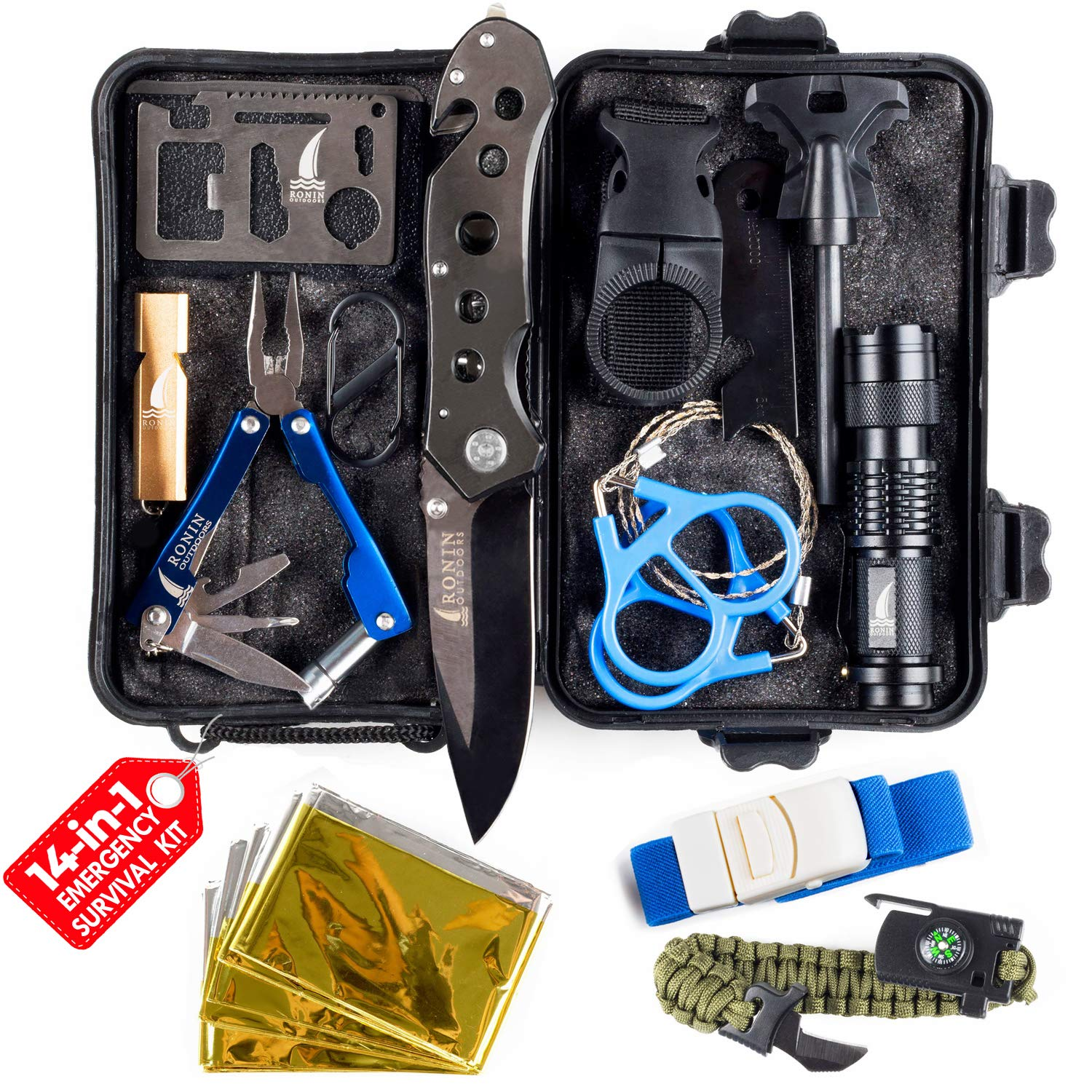 Camping Gear Tactical Survival Kit 14 in 1 | Hiking Backpack Outdoors| Car Emergency EDC Tools - SOS Disaster Preparedness Great Fishing Hunting Gifts for Men & Women by Ronin Outdoors
