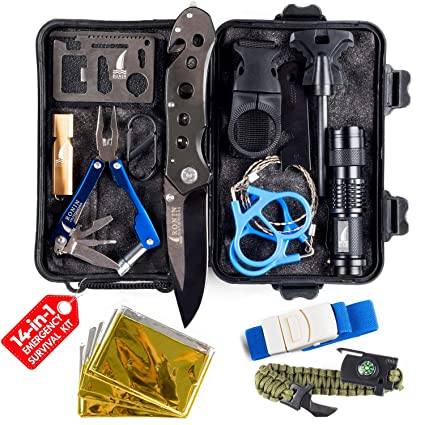 new concept e62f3 93e21 Camping Gear Tactical Survival Kit 14 in 1 | Hiking Backpack Outdoors| Car  Emergency EDC Tools - SOS Disaster Preparedness Great Fishing Hunting Gifts  ...