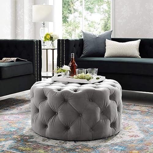 Inspired Home Bella Grey Velvet Cocktail Ottoman