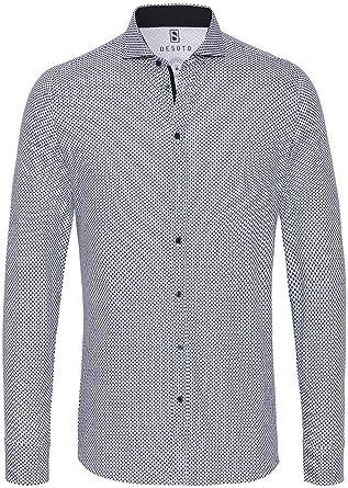 DeSoto - Camisa de Manga Larga para Hombre con Cuello de tiburón: Amazon.es: Ropa y accesorios