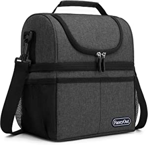 Insulated Lunch Bag with Dual Compartment, Leak Proof Liner Cooler Bag with Adjustable Shoulder Strap, Water-Resistant Lunch Box for Office/Picnic/Hiking/Beach (Style A-Dark Grey)