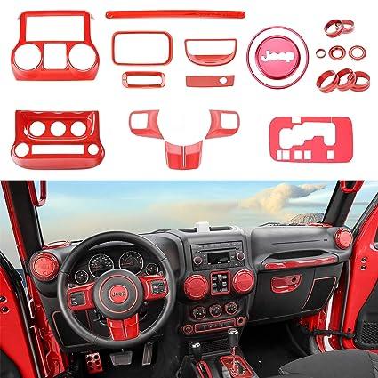 Jeep Wrangler Accessories 2017 >> Amazon Com Voodonala Red Interior Accessories Decorative Trim Kit