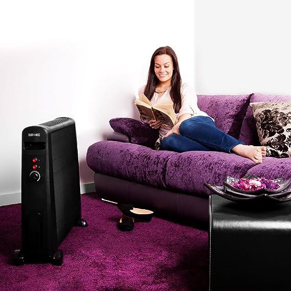 Duronic HV101 Calefactor Radiador Eléctrico Bajo Consumo con Panel de Mica de 2500 W y Termostato, Paneles Calefactores Libre de Aceite Que Calientan en 1 ...