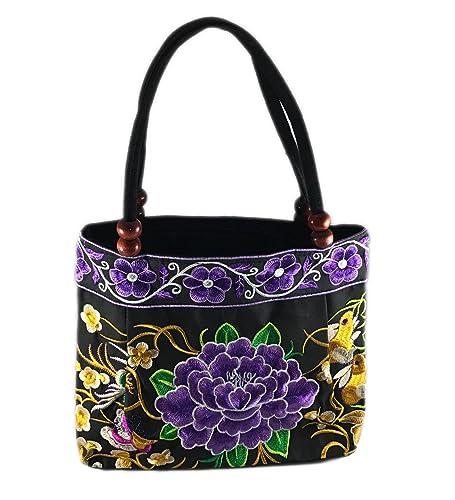 Boho Ethic Embroidered Handbag Purse Mandala Butterfly Flowers (Purple)