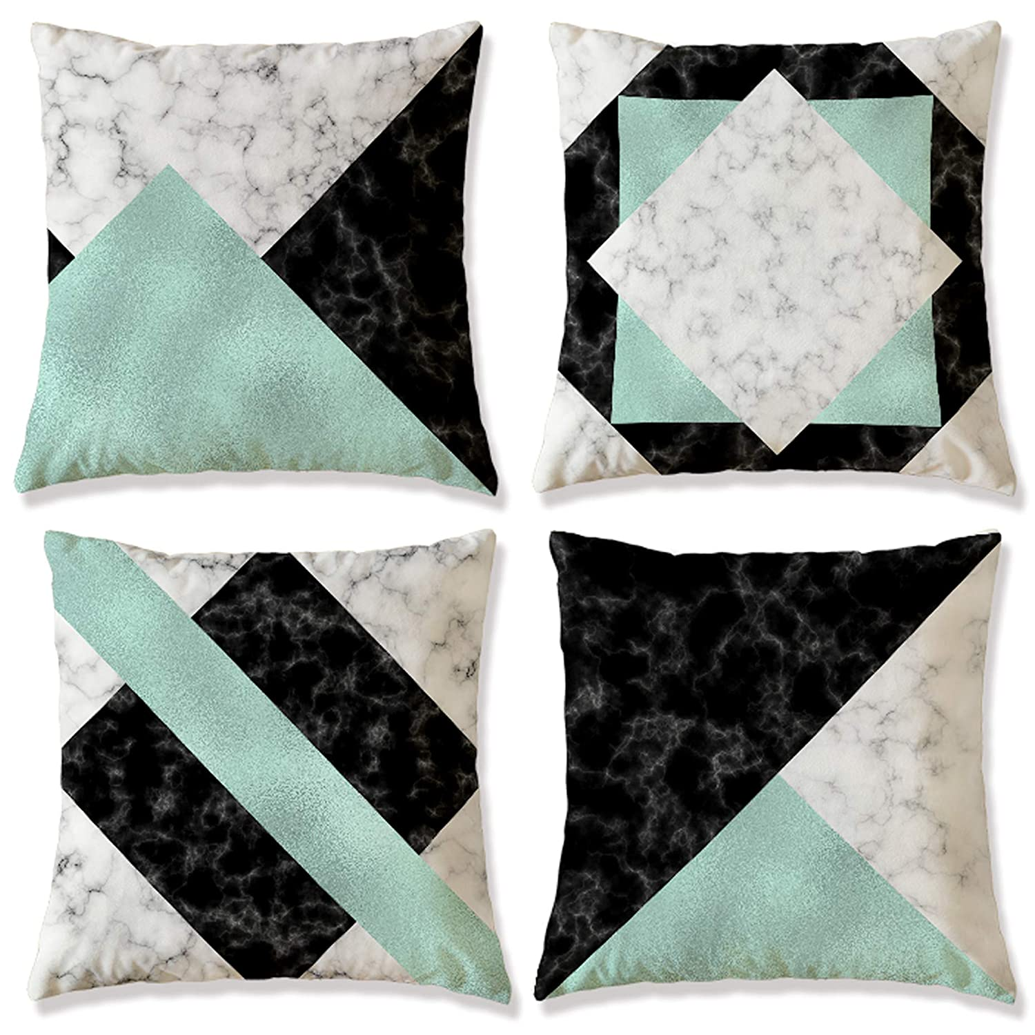 WOMHOPE Set of 4 Casual Flannelette Decorative Throw Pillow Covers Pillowslip Toss Cushion Pillow Cases 18 x 18 Inch for Living Room,Couch,Bed (Green) bed accessories Bed Accessories – Top accessories for bed that every bedroom need 8126ccw28HL