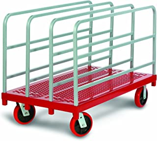 "product image for Raymond 3911 Steel Heavy Duty Panel and Sheet Mover with 4 Uprights and 8"" x 2"" Quiet Poly Caster, 3200 lbs Capacity, 54"" Length x 30"" Width"