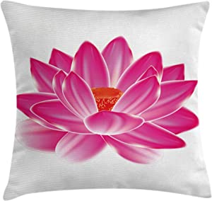 Ambesonne Lotus Throw Pillow Cushion Cover, Vibrant Lotus Flower Pattern Balance Lifestyle Artsy Image, Decorative Square Accent Pillow Case, 16 X 16 inches, Magenta Red