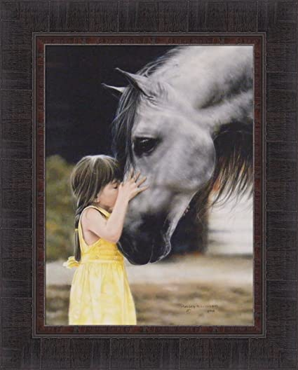 The Kiss By Lesley Harrison 17x21 Girl Kissing Horse Framed Art Print Wall  Décor Picture