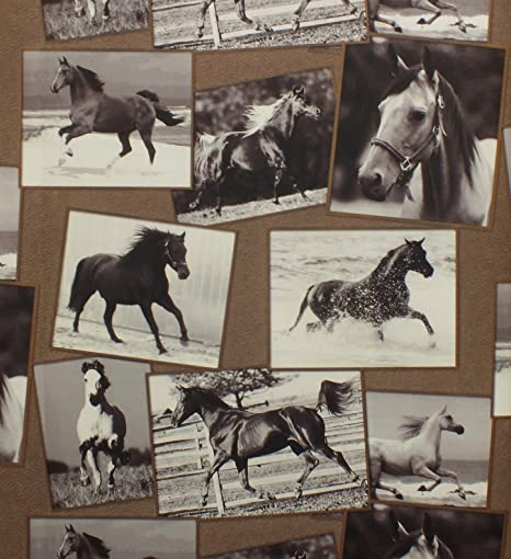 Horses Wallpaper Animal Print Picture-board Brown Washable Vinyl Black White: Amazon.co.uk: Kitchen & Home