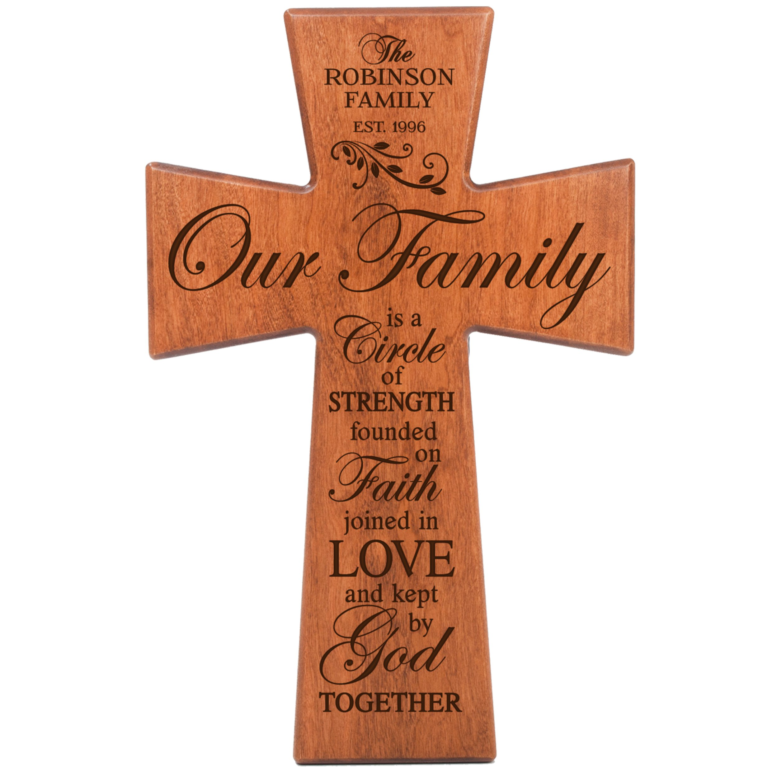 LifeSong Milestones Personalized Our Family is a Circle of Strength Cherry Wood Wall Cross Custom Housewarming Gifts (7x11)