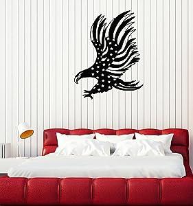 Vinyl Wall Decal American Bald Eagle Flag Patriotic Decoration Room Art Stickers Mural Large Decor (ig5471)