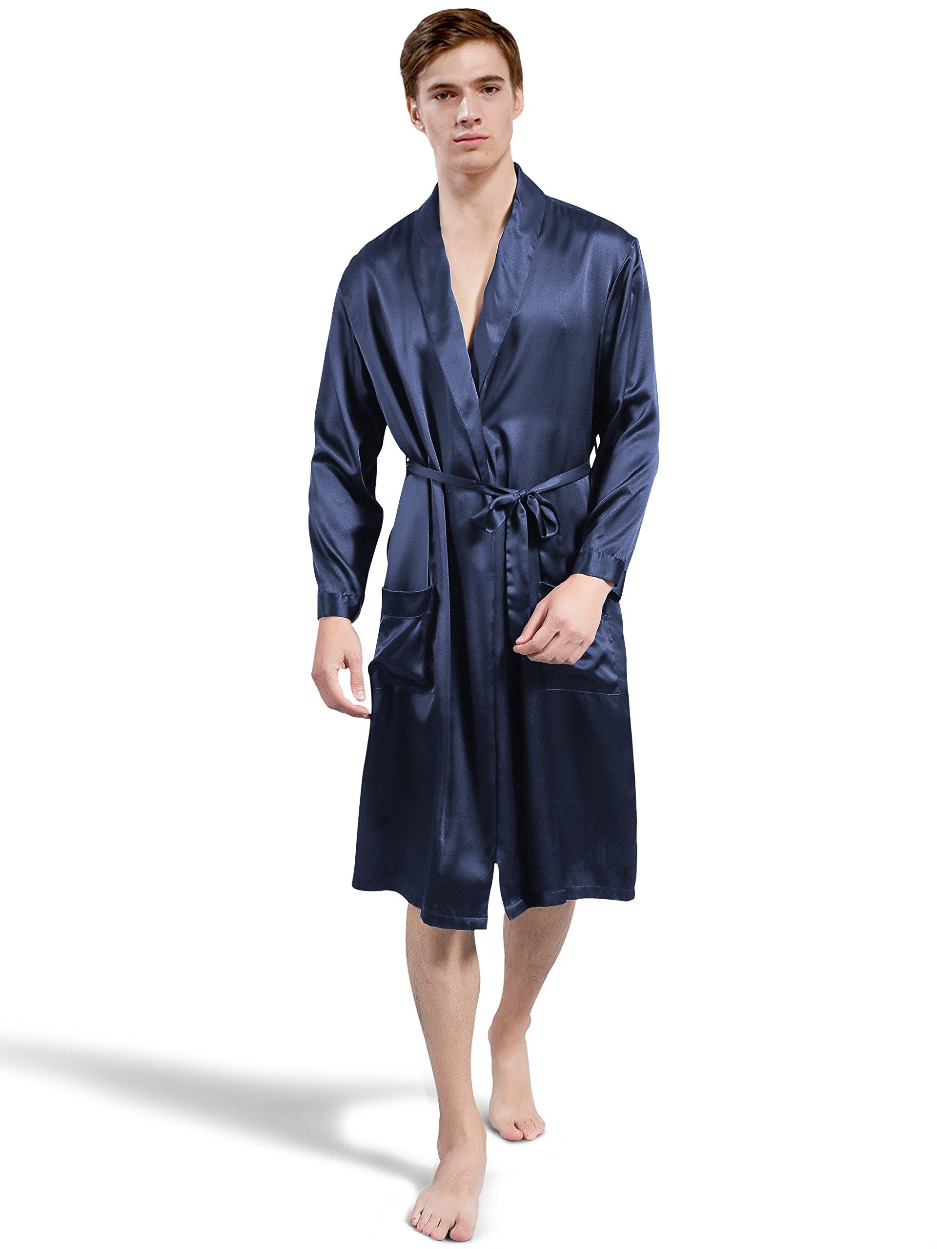ElleSilk Men's Silk Robe, Silk Sleepwear For Men, 22 Momme 100% Mulberry Silk, Navy, M
