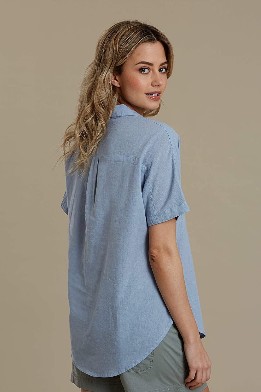 Relaxed Fit Breathable Tee Shirt Mountain Warehouse Breeze Womens Linen Shirt Hiking /& Camping Best for Travelling Lightweight Ladies Top Outdoors