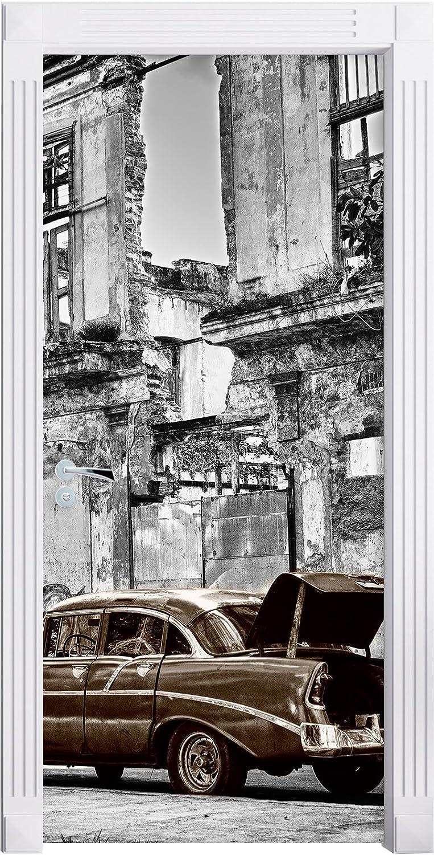 die Strassen Havannas B/&W Detail als T/ürtapete T/üraufkleber Format: 200x90cm T/ürsticker T/ür Deko T/ürbild