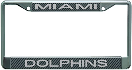 miami dolphins carbon fiber laser frame chrome metal license plate tag cover - Miami Dolphins License Plate Frame