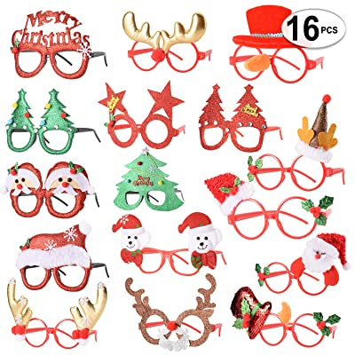16 PCS Holiday Glasses,Cute Christmas Glasses Frames,Flexibility to Fit All Sizes,Great Fun and Festive for Annual Holiday and Seasons Themes, Christmas Party,Christmas Dinner,photos booth.: Toys & Games