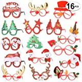 16 PCS Holiday Glasses,Cute Christmas Glasses Frames,Flexibility to Fit All Sizes,Great Fun and Festive for Annual…