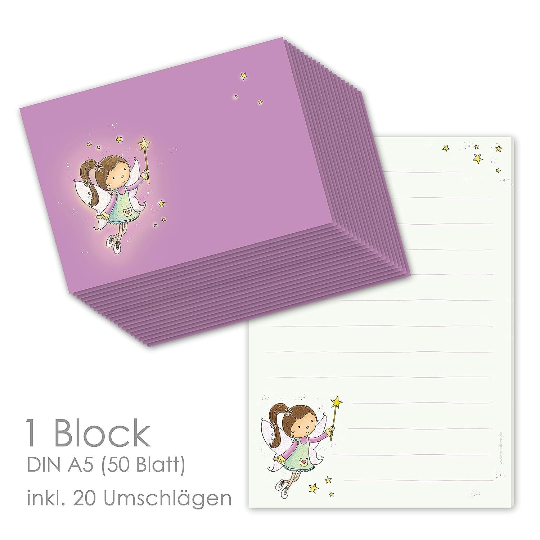 Schreibblock / Briefblock FEE DIN A5 (liniert 50 Blatt) inklusive 20 passenden Umschlägen / Briefpapier Set Mädchen / Briefpapier für Kinder emufarm