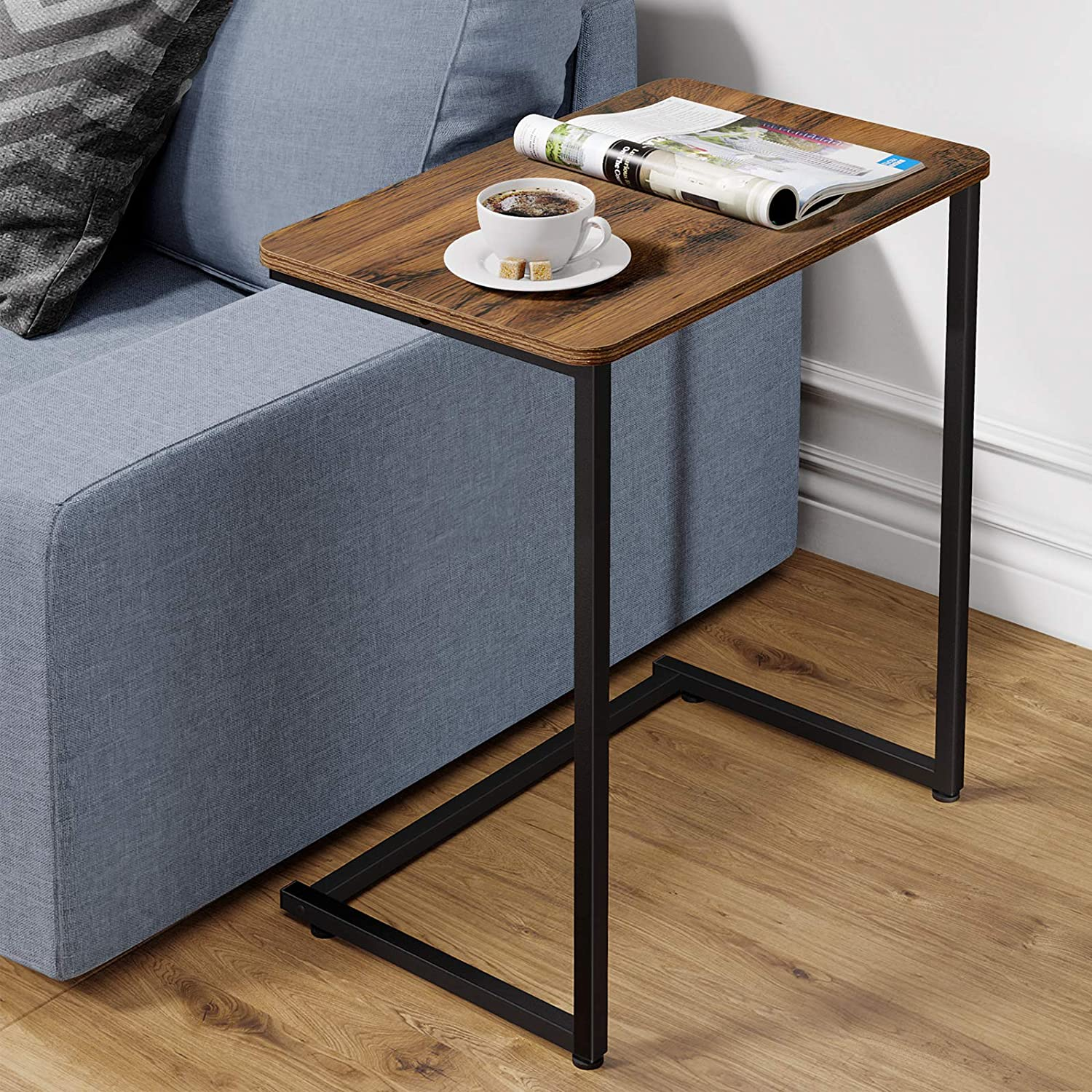 Homemaxs C Table Sofa Side End Table - Vintage Accent Couch Table Accent Couch Table Snack Table for Living Room| Laptop| Bedroom| Coffee| Couch| Small Spaces