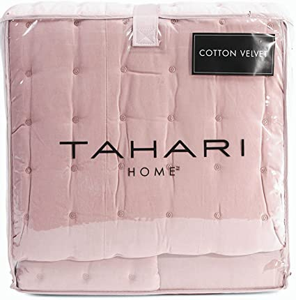 Tahari Home Luxe Washed Cotton Velvet Quilted Coverlet And Shams 3pc Set  Blush Rose Dust Pink