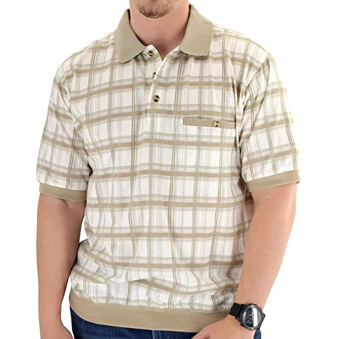 Mens Vintage Shirts – Retro Shirts Banded Bottom Classic by Palmland Allover Short Sleeve Shirt 6190-187 $27.99 AT vintagedancer.com