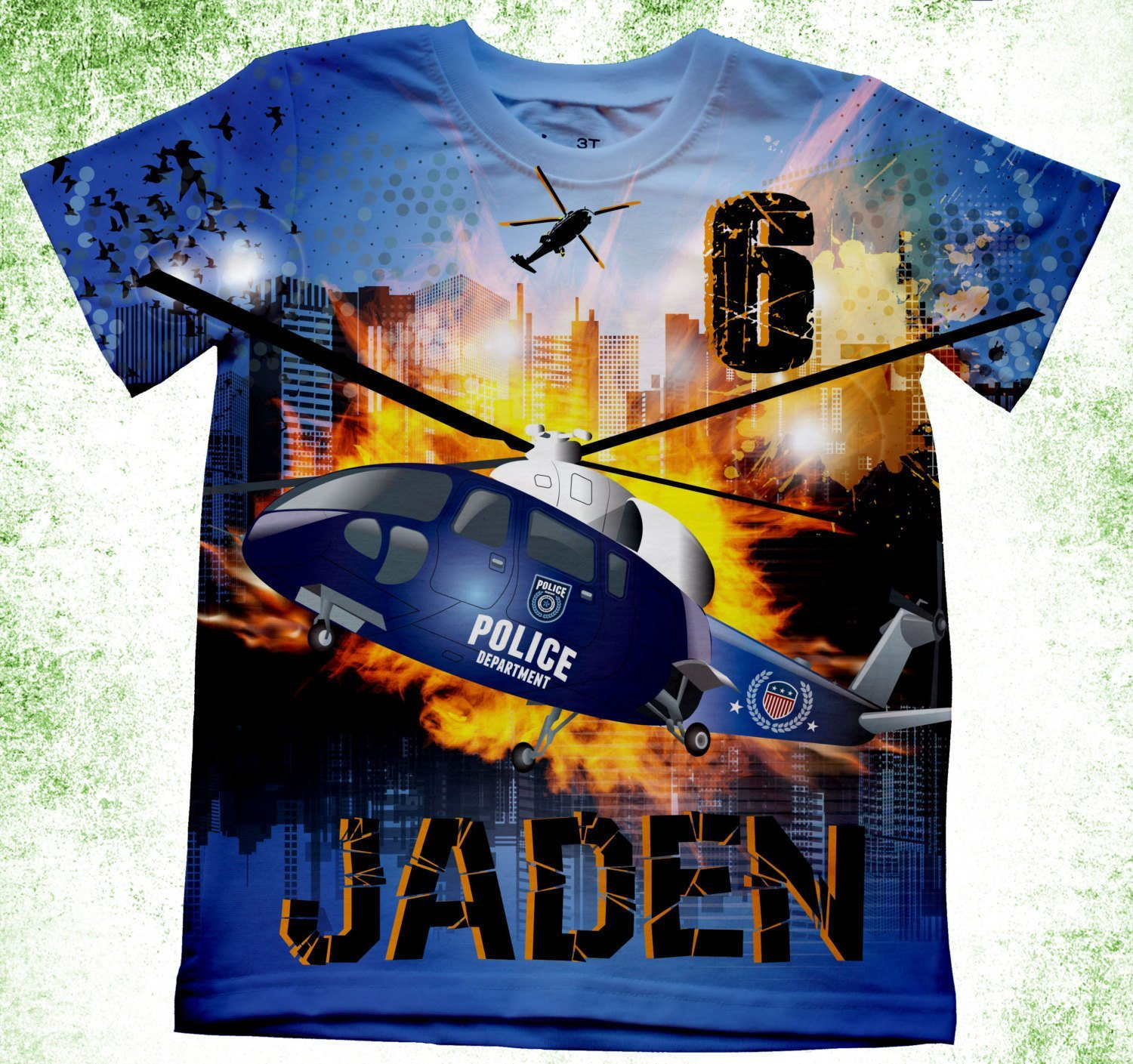 427f0bed6 Amazon.com: Personalized Police Helicopter T-Shirt, Police Birthday Shirt,  Birthday Party Kids T-shirts, Theme Birthday Shirt, Police Boys Bday TShirts:  ...