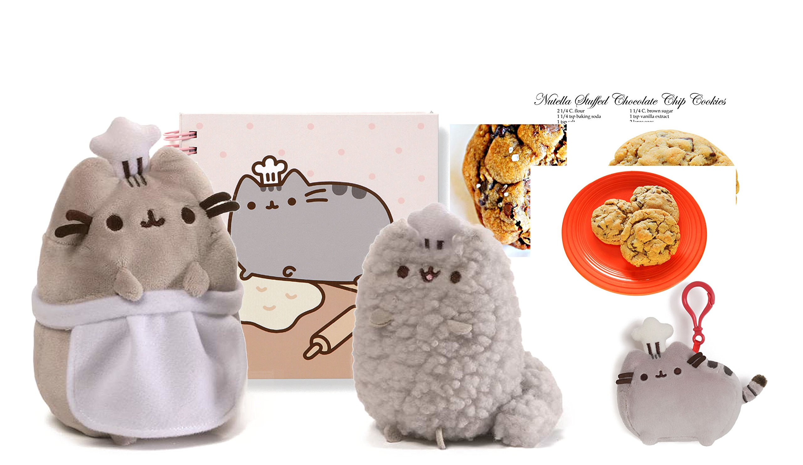 Supercute Pusheen and Stormy Plush Baking Gift Set – Plush Toys, Notebook, Chef Backpack Clip, Cookie Recipe Cards by Pusheen