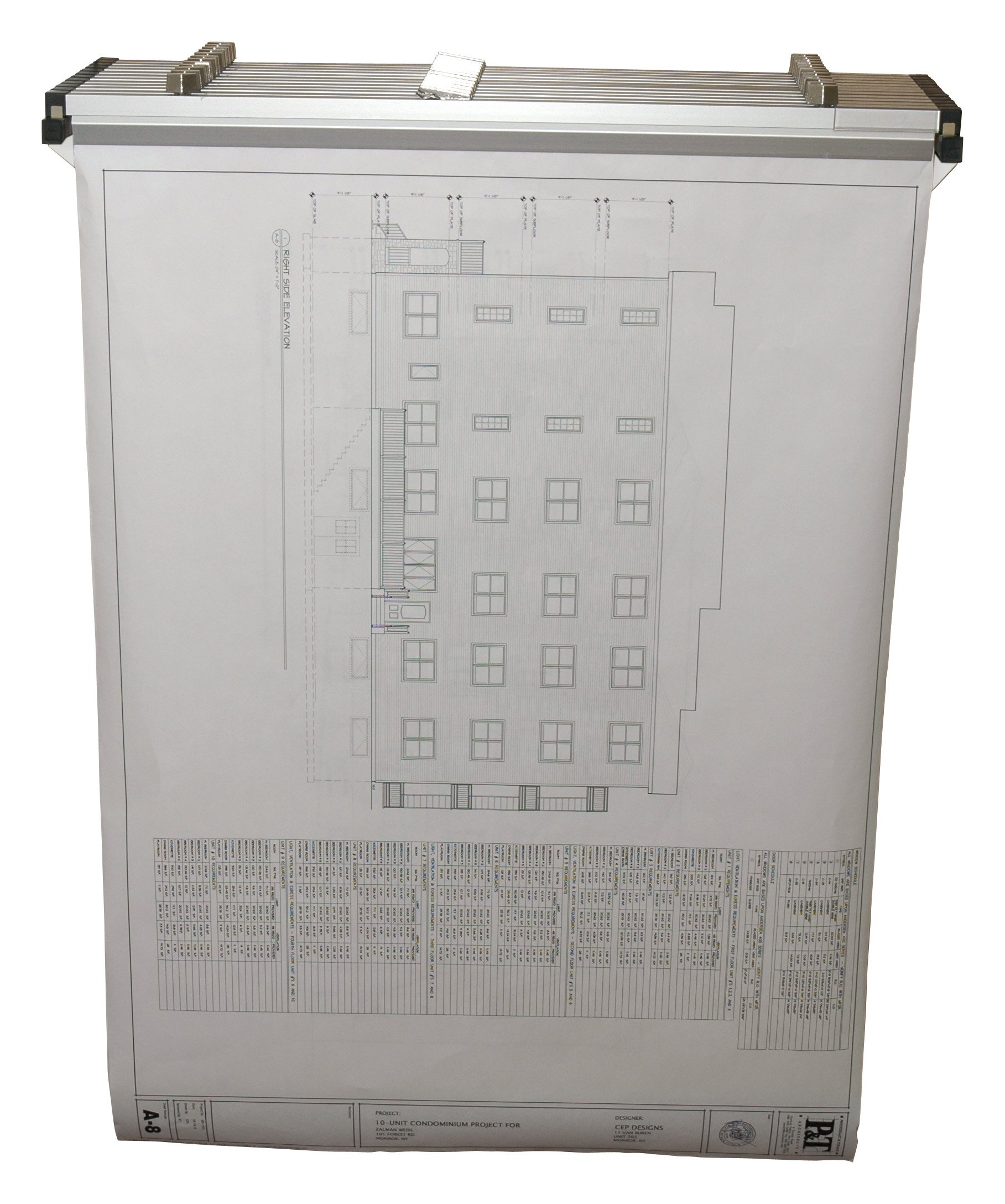 Adir Corp. Drop - Lift Wall Rack for Blueprints - Plans, White with 12 36'' File Hanging Clamps