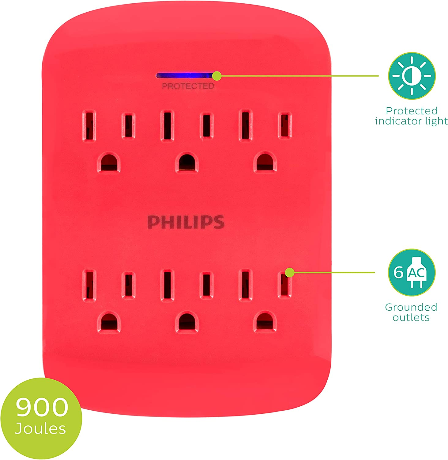 SPP3466BC//37 Protection Indicator LED Light Space Saving Design 900 Joules 3-Prong PHILIPS 6-Outlet Surge Protector Tap 2 Pack Black
