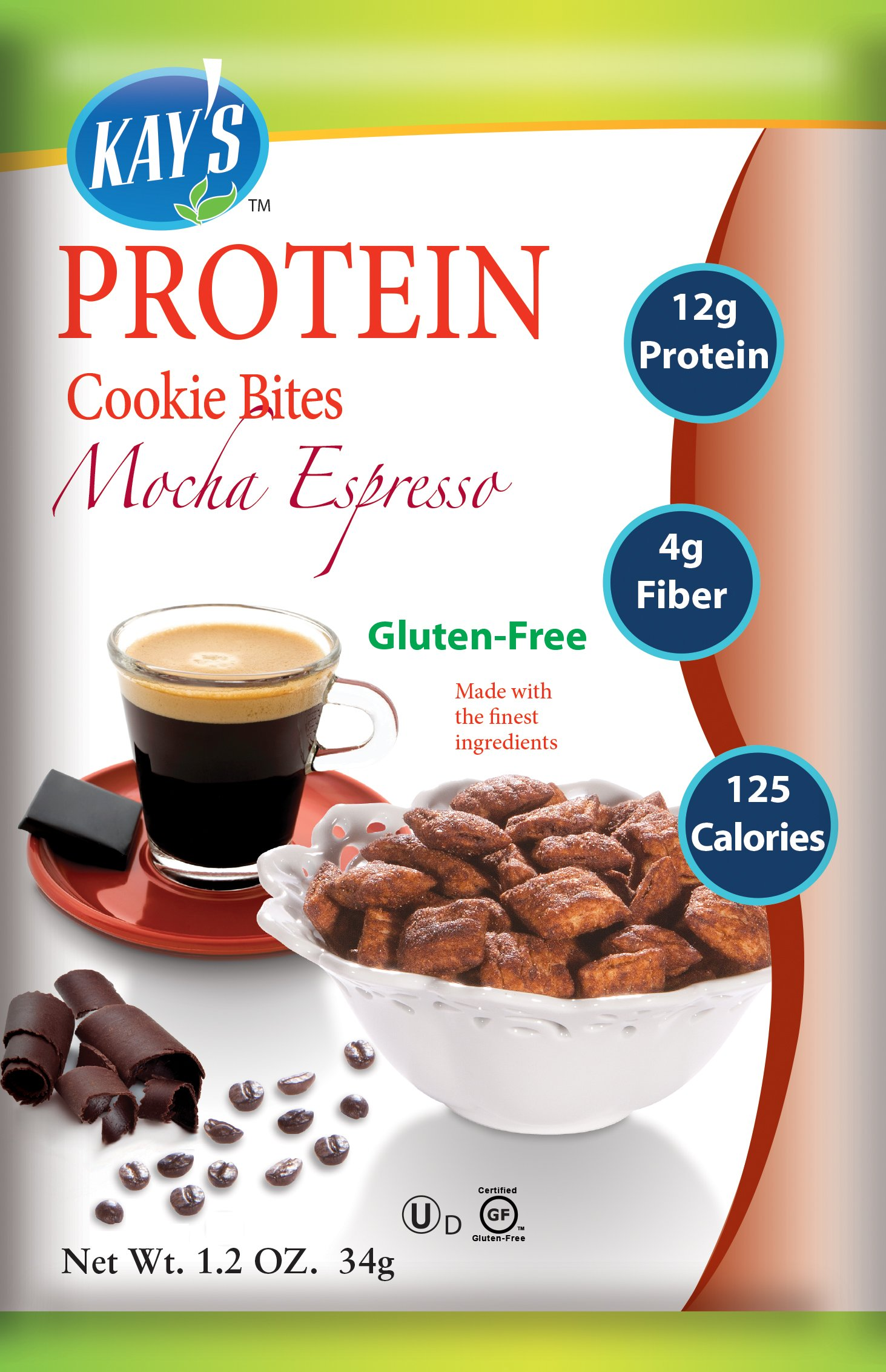 Kay's Naturals Protein Cookie Bites, Mocha Espresso, Gluten-Free, 1.2 Ounce (Pack of 6)