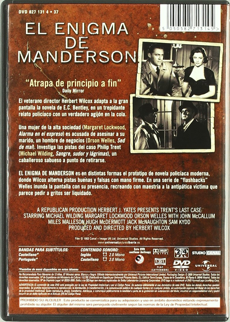 Amazon.com: El Enigma De Manderson [1952] (Import Movie ...