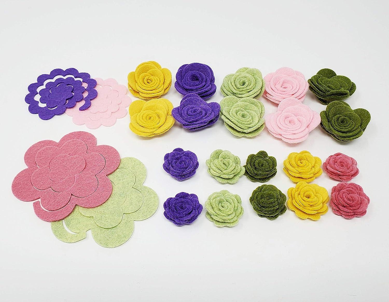 24 Wool Blend Felt 3D Roses Die Cut Applique Flowers Red Brick OTR Felt Made in USA