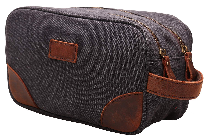 Grey My style garment MSG Vintage Leather Canvas Travel Toiletry Bag Shaving Dopp Kit #A001