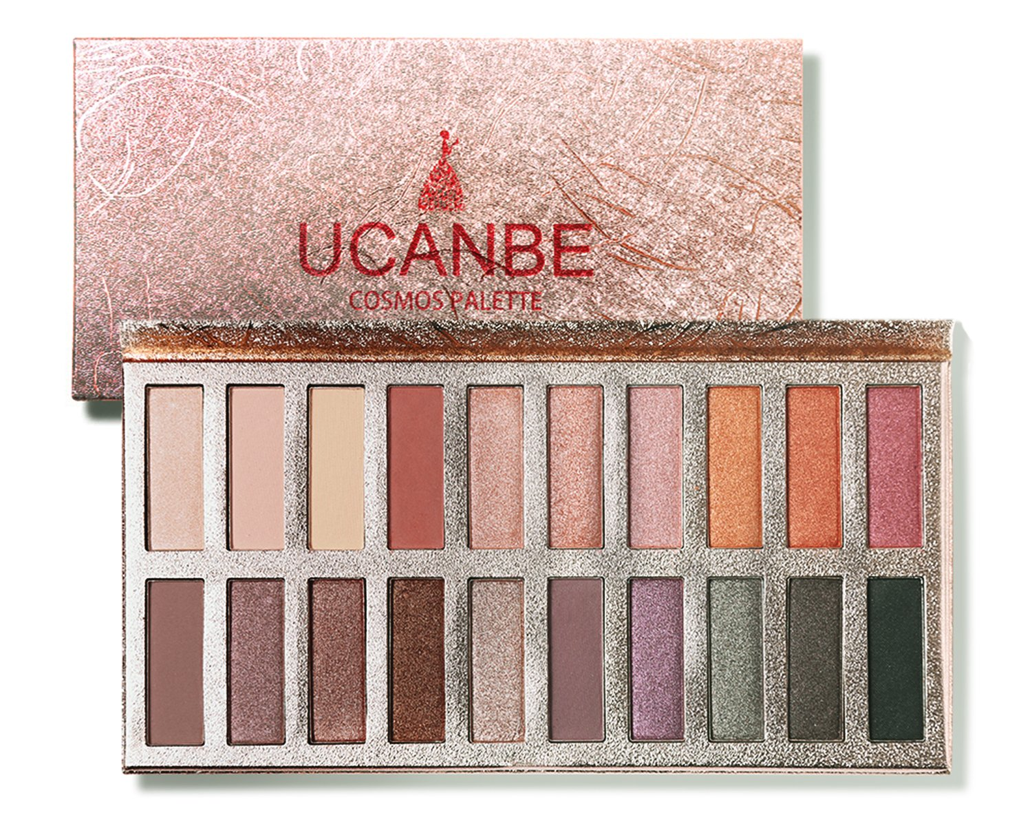 Ucanbe Glittering Cosmos Eye shadow Palette Pro 20 Eyeshadows High Pigmented & Long Wear, Matte + Shimmer Shades for Natural Nude Smoke Makeup (Naked)