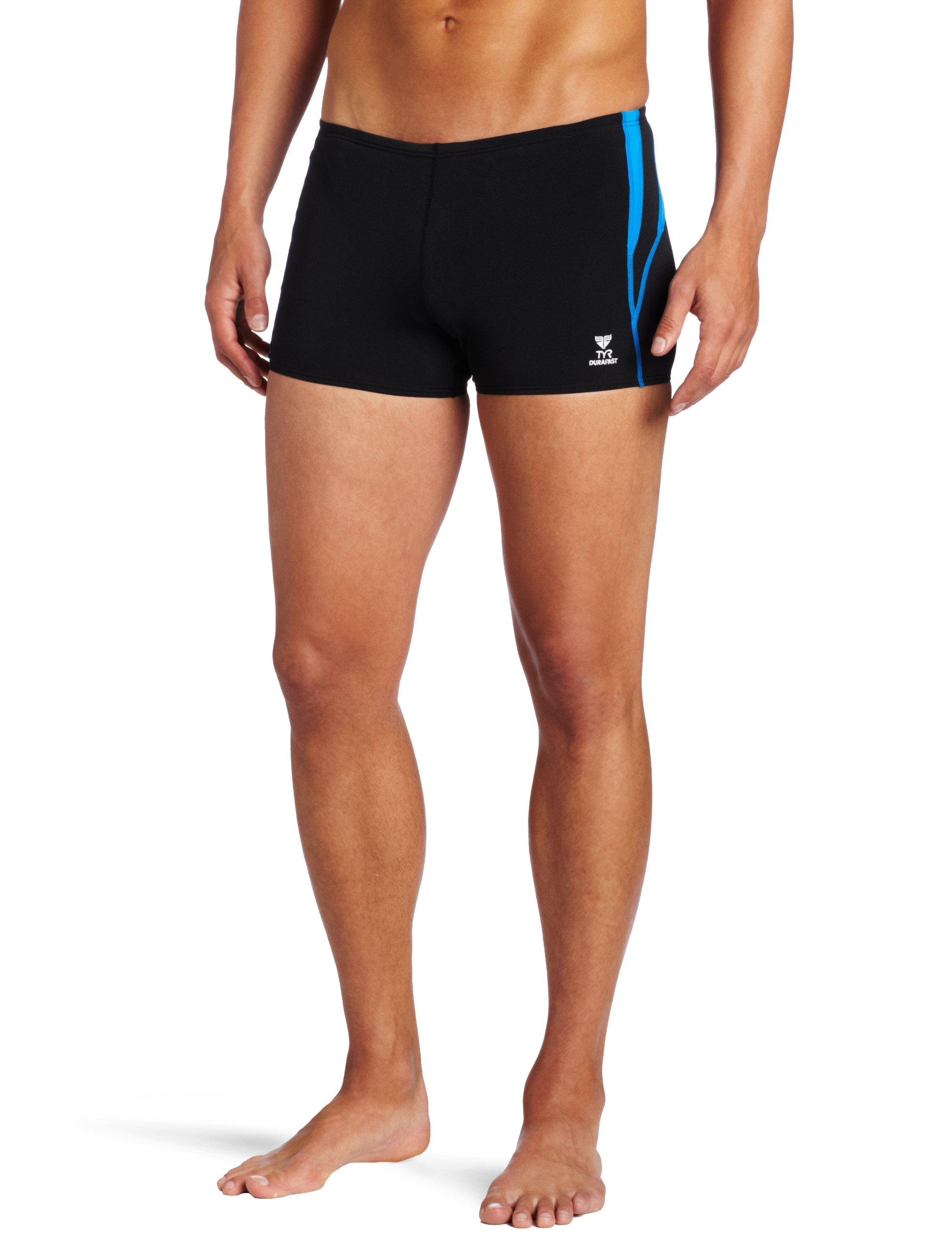 TYR  Men's Alliance Durafast Splice Square Leg Swim Suit (Black/Blue, 34)