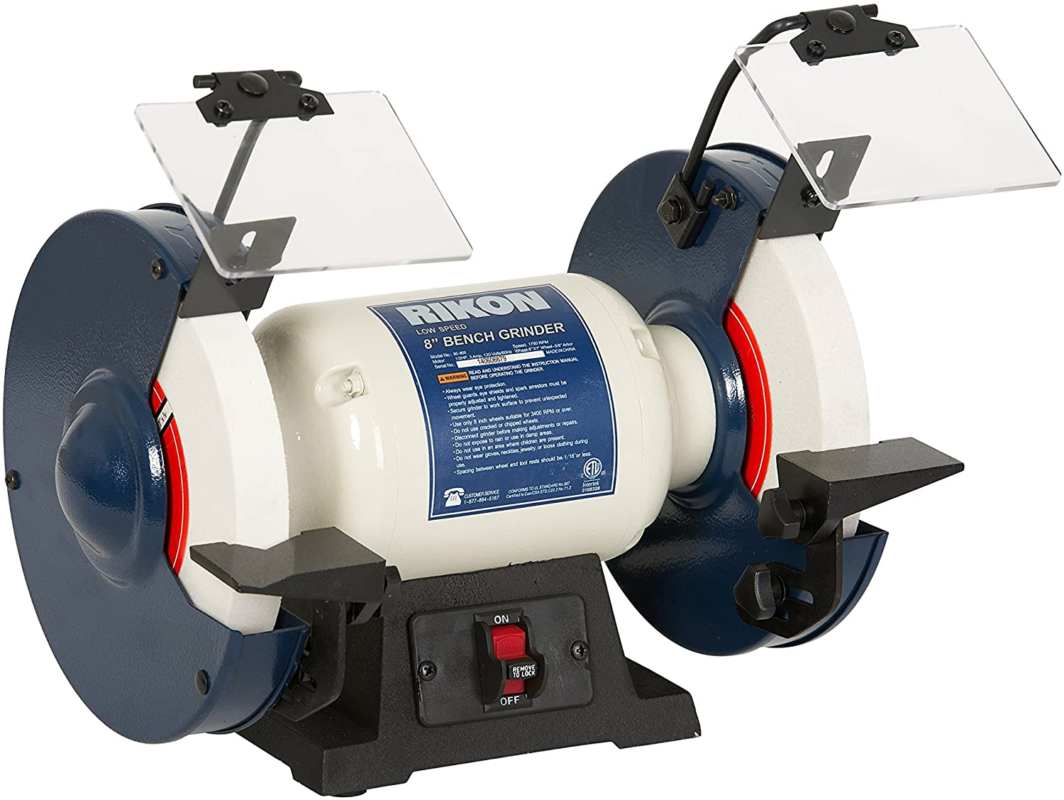 RIKON Professional Power Tools, 80-805, 8 inch Slow Speed Bench Grinder