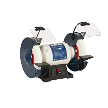 """Rikon Professional Power Tools, 80-805, 8"""" Slow Speed Bench Grinder, Powerful Shop Table Tool, Perfect for Sharpening, With Anti-Vibration Rubber Feet"""