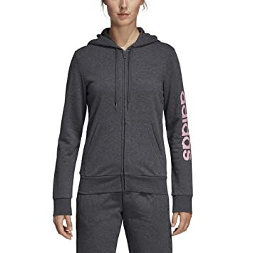 e62295064f adidas Essentials Linear Veste à Capuche Femme, Dark Grey Heather/True  Pink, FR