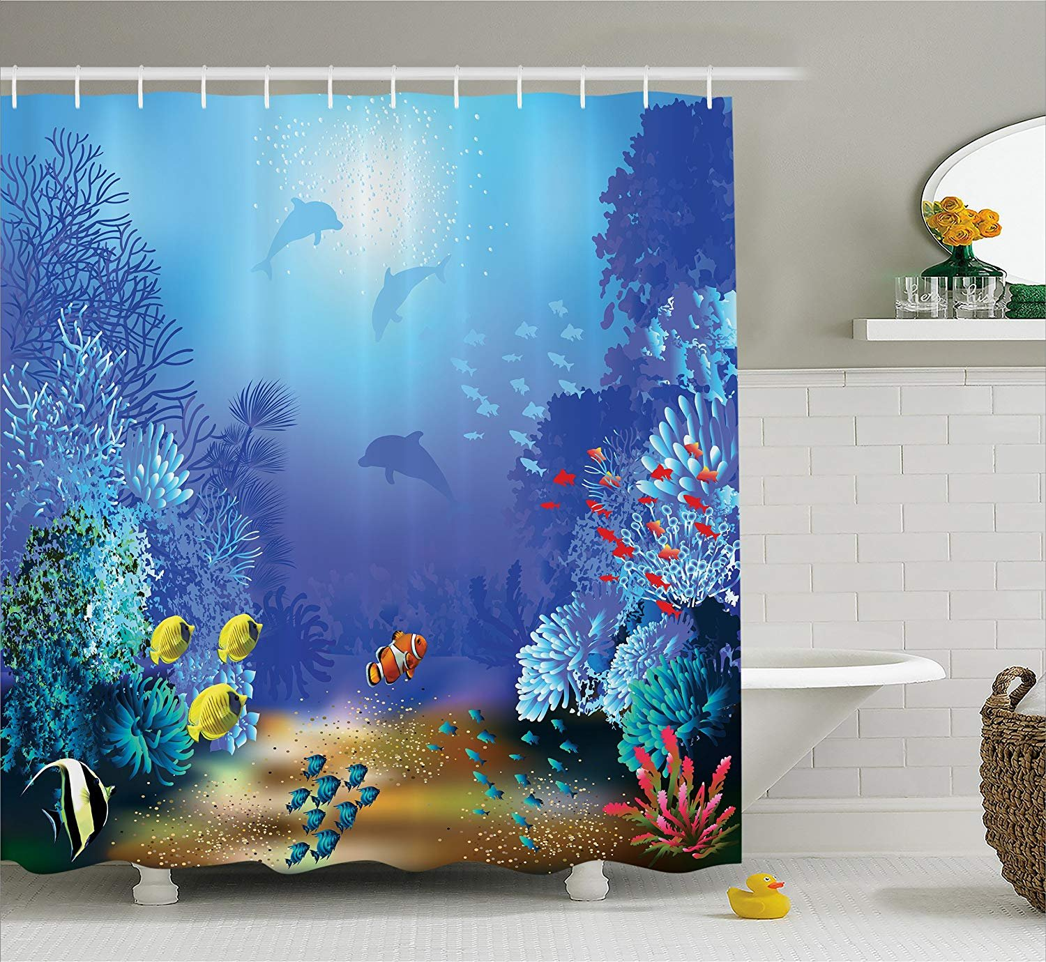Nyngei Ocean Animal Decor Shower Curtain by Underwater Coral Reef Polyps Algae Dolphins and Goldfishes Bubbles Deep Print Fabric Bathroom Decor Set with Hooks 180CM Extra Long Blue