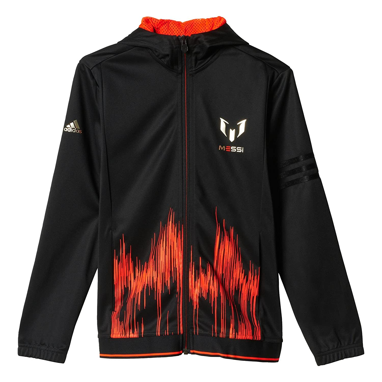 Black//Solar Red adidas Messi Full Zip Jacket Boys