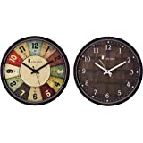 Amazon Brand - Solimo 12-inch Wall Clock - Classic Roulette (Silent Movement, Black Frame) and 12-inch Wall Clock - Checkered (Silent Movement, Black Frame) Combo