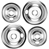 Cenipar 316048413 Range Drip Bowl 8 Inch (2 Pack)&316048414 Range Drip Bowl 6 Inch (2 Pack) chrome in color for Electric Surf
