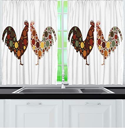 Amazon Com Ambesonne Kitchen Curtains Rooster In Polka Dots
